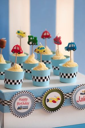 Cars, boats, planes and trains party: Add flair to your cupcakes by making your own wrappers. Download your wrapper templates at www.livingandloving.co.za under the For Fun section.