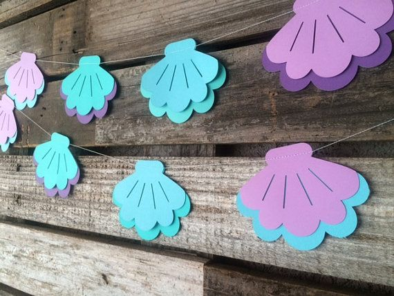 Sea Shells- Mermaid Party Garland- Under the Sea, Baby Shower, Birthday Party, Beach Party