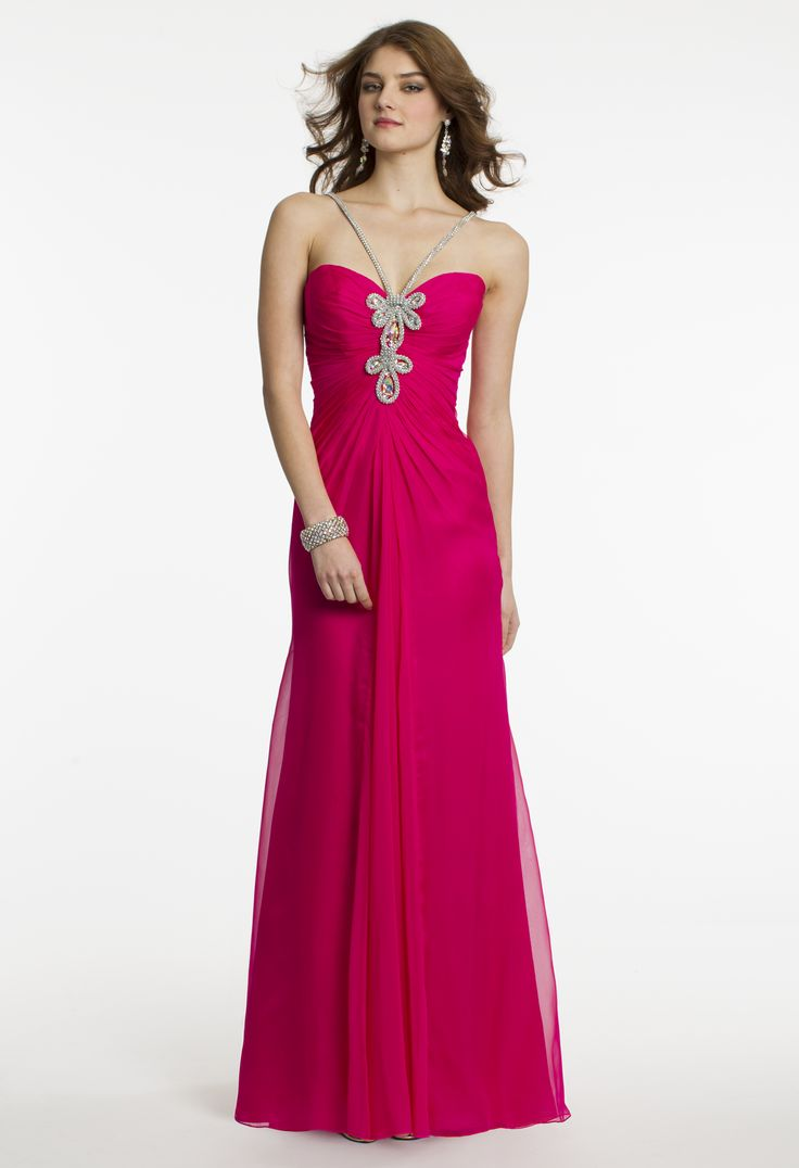 Rhinestone Rope Ruched Prom Dress by Camille La Vie