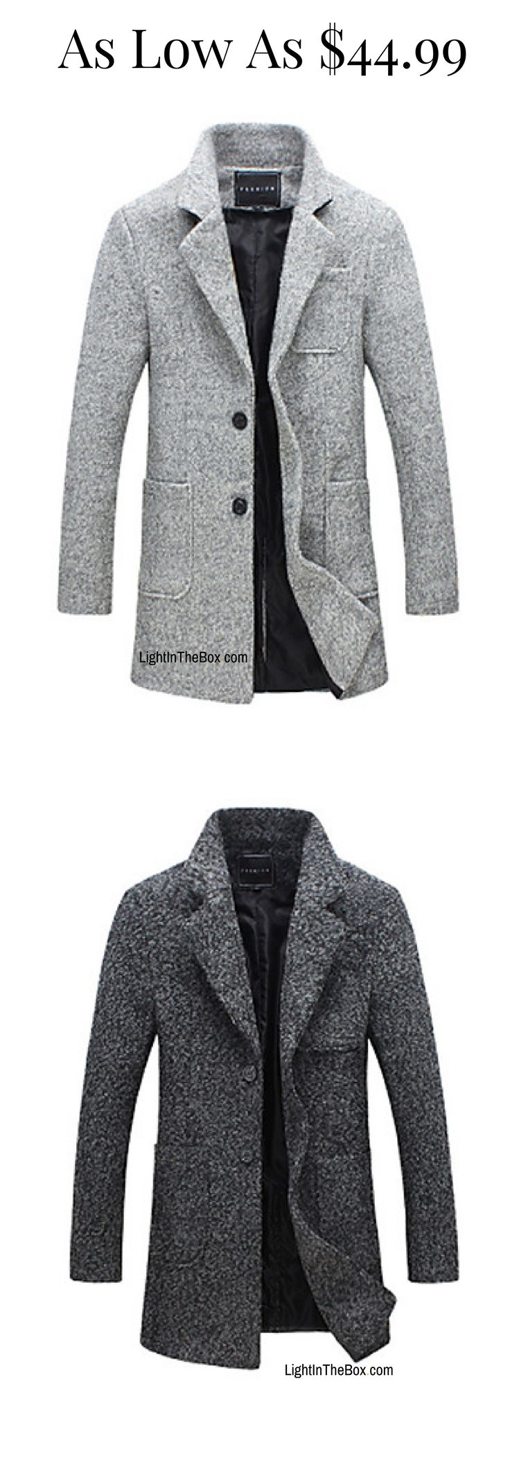 Casual formal men coat in light/ dark grey colours at just $44.99. Like it? Click to shop.