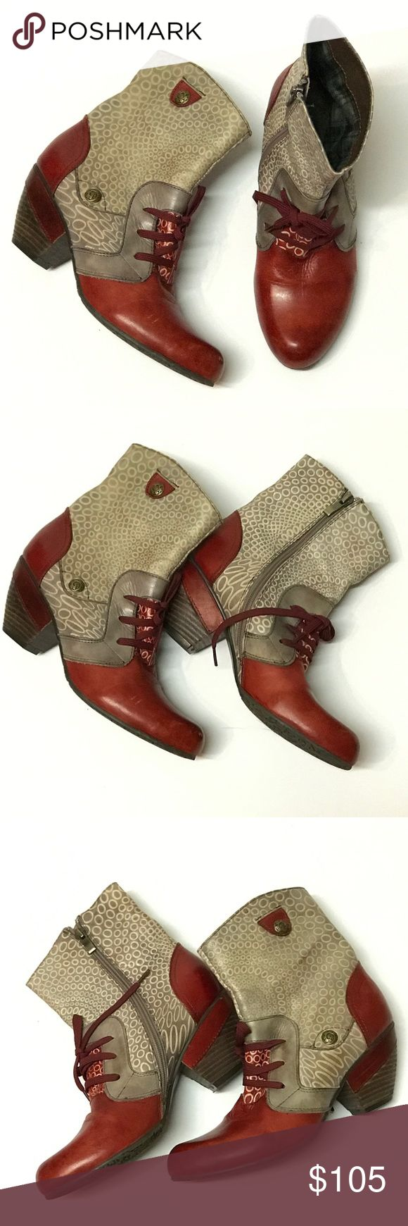 *RARE* Laura Vita Boots From France Very rare Laura Vita boots, purchased in France. Size 39 (9) and fits true to size. Red, gray and cream leather booties style. Shows some minor wear (see marks in photos) from normal usage but overall great condition! You will LOVE them! Laura Vita Shoes Ankle Boots & Booties