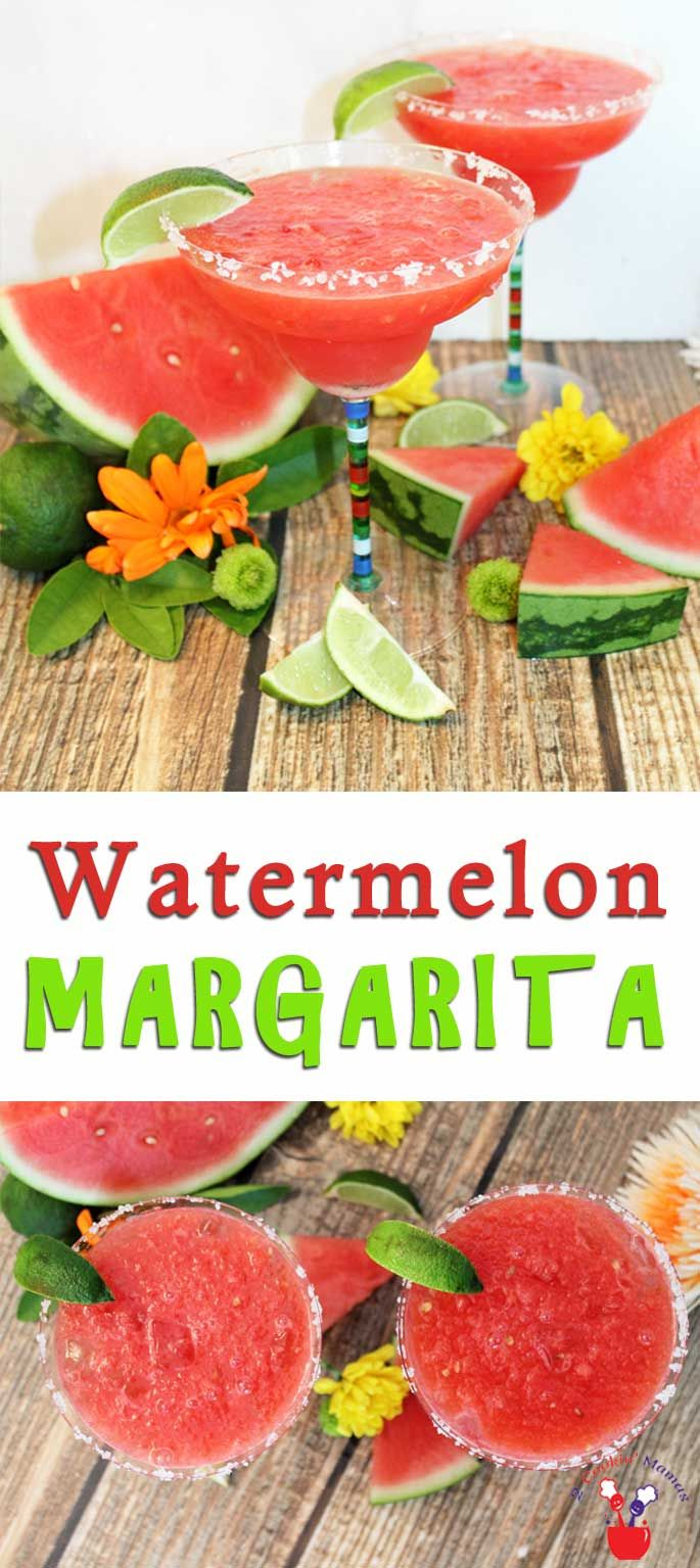 A Watermelon Margarita is made for summer! A refreshing combination of juicy watermelon, tequila & a touch of lime makes this a perfect thirst quencher. via @2CookinMamas