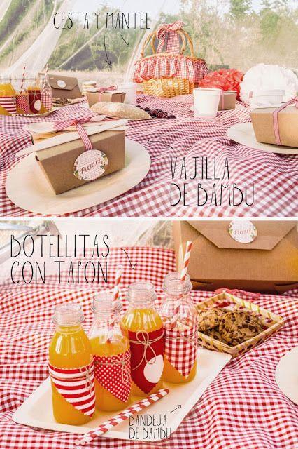 Ideas para fiestas al aire libre. Celebra un picnic romántico! #ideas #picnic #fiestas #romantico #desechables #kraft #bambu #madera