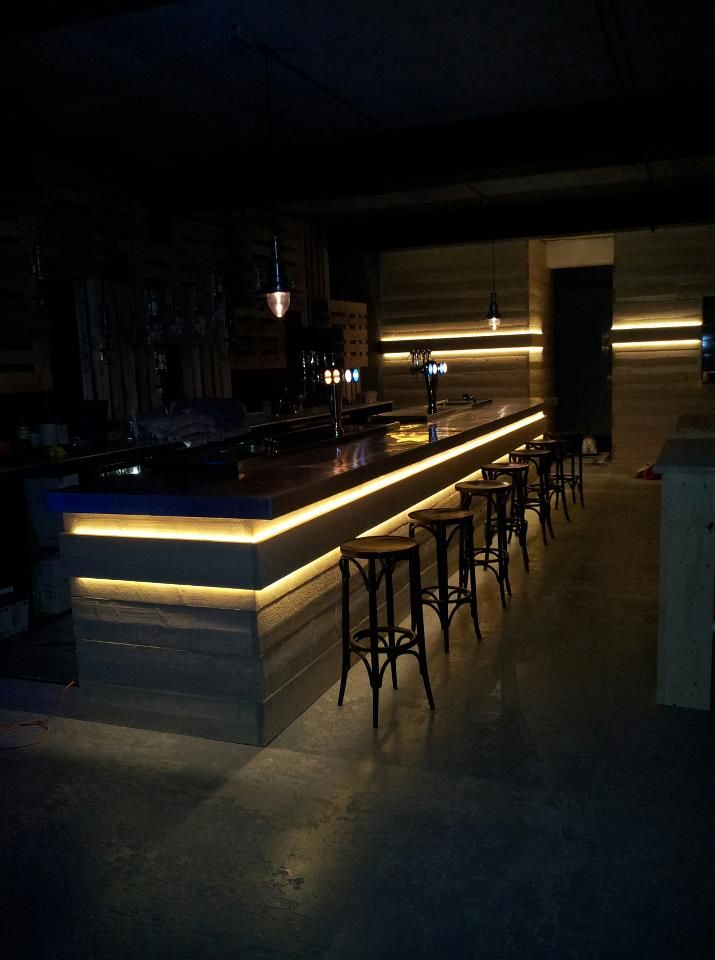 Concrete bar front with LED lit detail