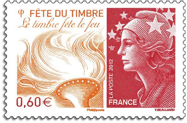 """Timbre Marianne """"Le timbre fête le feu"""", créa. & grav. : Yves Beaujard, mise en page par Stéphane Ghinéa, impression taille-douce un poinçon, valeur faciale 0,60 € © Phil@poste / La Poste, DR."""