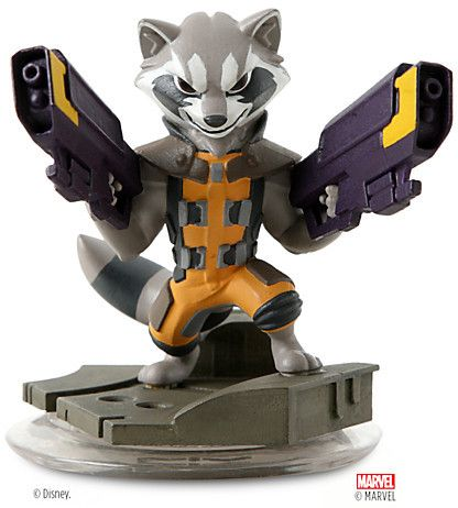 Have a blast! Take on enemies with heavy ranged explosive powers for tactical action. Team up with The Guardians of the Galaxy and create your own Marvel Super Heroes adventures with this Rocket Raccoon figure. A Disney Infinity game figure.