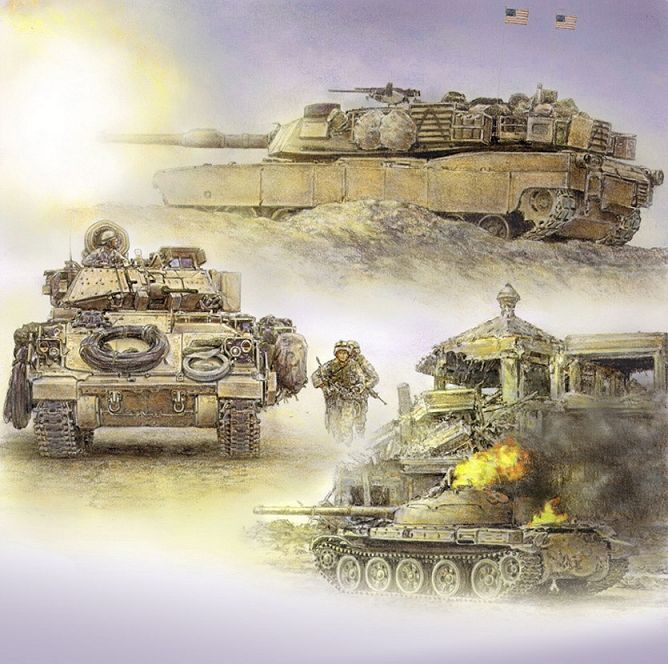 An M1A1 Abrams firing, a Bradley fighting vehicle and troops advancing and a burning soviet-made tank, images of Operation Iraqi Freedom.