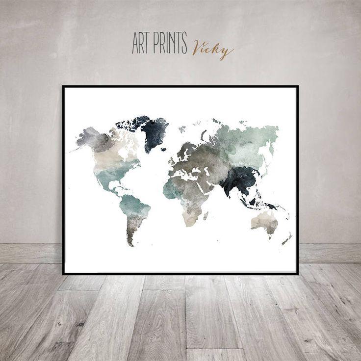 World map poster Large world map World map print World map