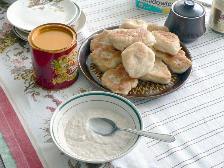Mum's breakfast in Ahipara. Fried bread, golden syrup and porridge.