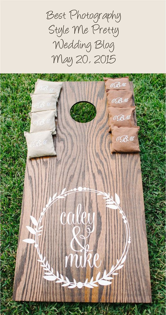 The Caley & Mike wedding cornhole set (photo by Best Photography) is the photo for a post thats been pinned over 3500 times on Pinterest. https://www.pinterest.com/pin/16114511145055007/  This gorgeous Florida wedding was featured in a Style Me Pretty blog post on May 20, 2015. The wreath design is slightly modified making it a more symetrical design for placing wreaths on both boards. You may choose to do bride and groom names with out without the wedding date inside the wreath. All of my…