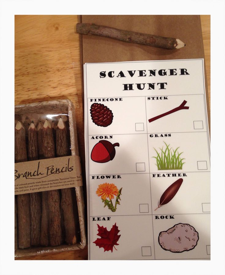 Scavenger Hunt party game for the kids with branch pencils.