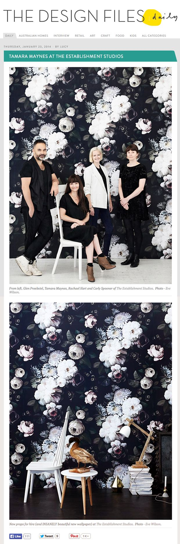 Black floral print wallpaper dark floral wallpaper by ellie cashman - Ellie Cashman Dark Floral Wallpaper As Featured On The Design Files Australia S 1 Design
