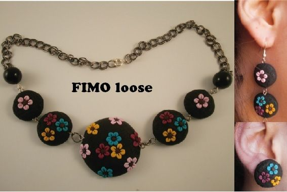 fimo polymer clay collana necklace flowers fiori