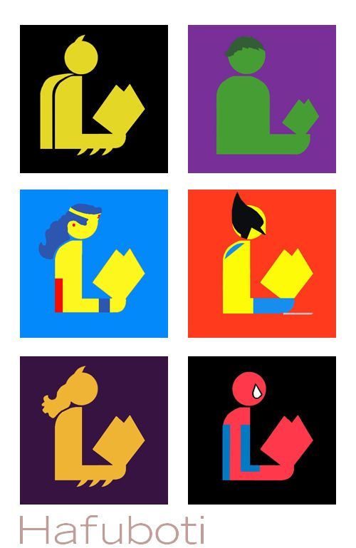 The six super heroes mashed-up with the ALA's public library symbol: Batman, The Incredible Hulk, Wonder Woman, Wolverine, Batgirl, and Spid...