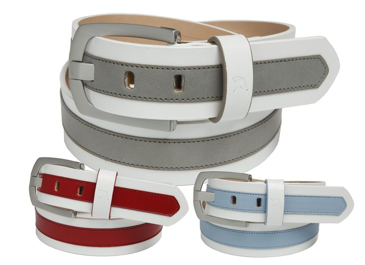 Leather Strap Belt with Contrasting Colour Leather Overlay Stripe, Brushed Nickel Harness Buckle and featuring the Arnie™ Logo on the Loop - $75.00 - Arnie™ Belts