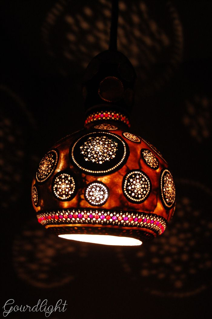 The height of the lamp is 27cm and the diameter is about 17cm. The lamp was finished of with linen string. Lampshade was decorated with red & violet crackle glass beads (4mm). SOLD!