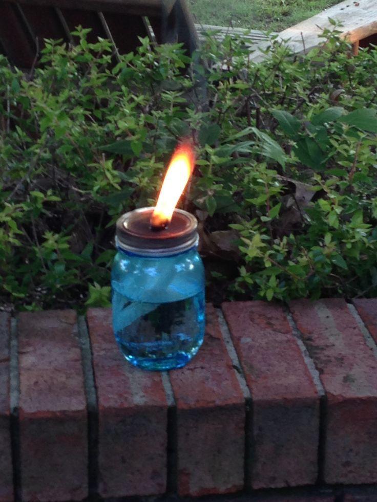 tiki torch out of mason jar