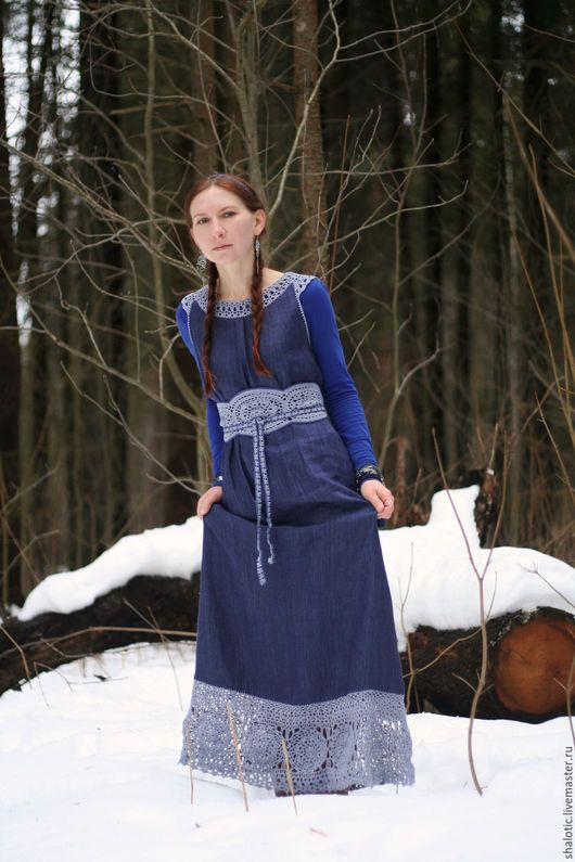 Льняной сарафан, льняное платье с кружевом, длинный сарафан из льна, платье ручной работы, джинсовый сарафан, автор Юлия Льняная сказка