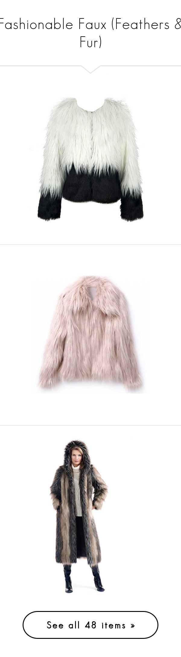 """""""Fashionable Faux (Feathers & Fur)"""" by mysfytdesigns ❤ liked on Polyvore featuring outerwear, coats, white fox coat, faux fur hooded coat, white faux fur coats, faux fox fur coat, hooded coat, jackets, black and oversized jackets"""