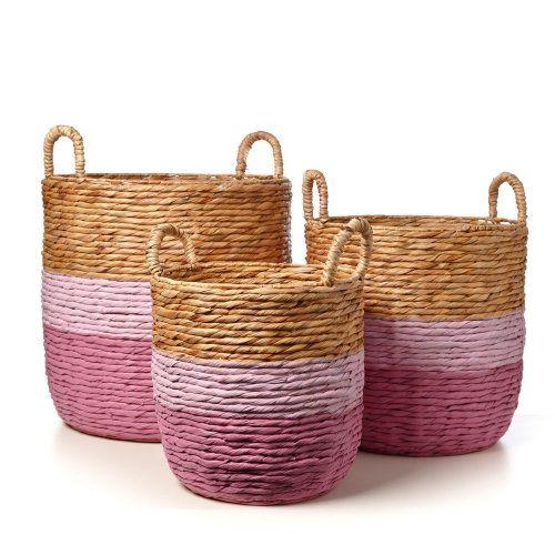 Adairs Kids Nash Woven Baskets Pink, kids storage, kids baskets