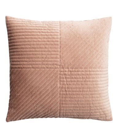 Light camel. Cushion cover in quilted cotton velvet with a concealed zip.