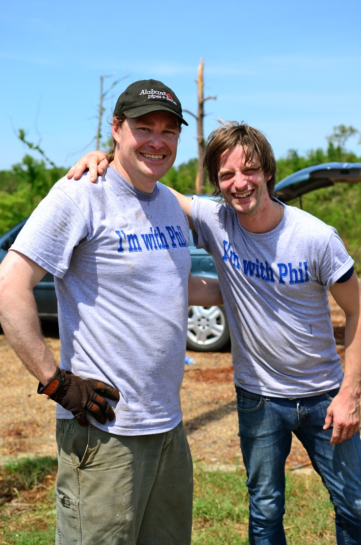 From the I'm with Phil Documentary - Phil Campbell of Birmingham, AL (right) and Phil Campbell of Glasgow, Scotland (left) as they unite in the town of Phil Campbell, AL to help with the relief effort.