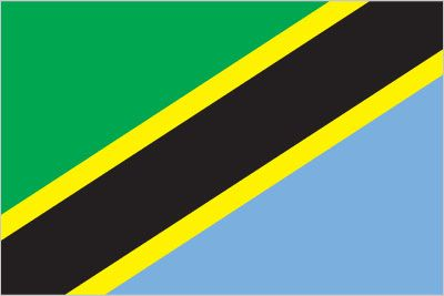Tanzania  divided diagonally by a yellow-edged black band from the lower hoist-side corner; the upper triangle (hoist side) is green and the lower triangle is blue; the banner combines colors found on the flags of Tanganyika and Zanzibar; green represents the natural vegetation of the country, gold its rich mineral deposits, black the native Swahili people, and blue the country's many lakes and rivers, as well as the Indian Ocean