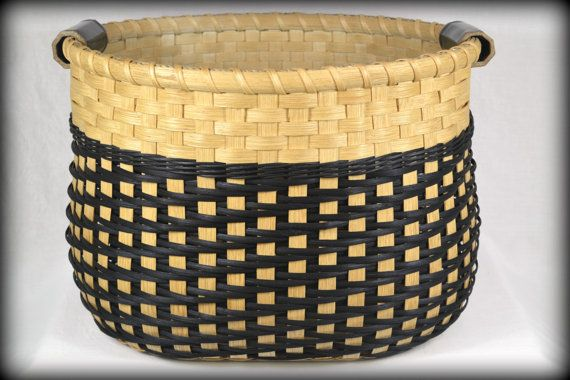 Large Storage Basket with Twill Weave and Pottery Handles for Laundry, Toys, Sewing, or Yarn