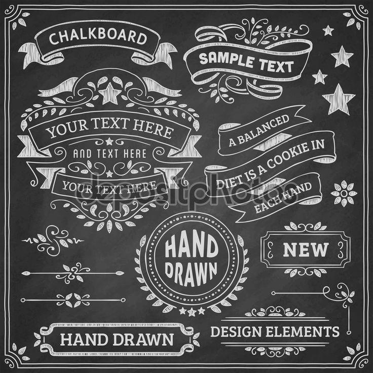 Elementos del diseño de la pizarra — Stock Illustration #66016473