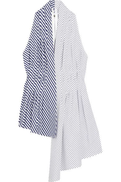 "Adam Lippes' deconstructed top showcases the house's signature ""unhurried elegance."" Finished with an asymmetric hem, it's made from contrasting panels of striped cotton-poplin and has flattering pleats to accentuate a slim waist. Wear it solo or layered over a T-shirt, as styled in the Resort '17 lookbook."