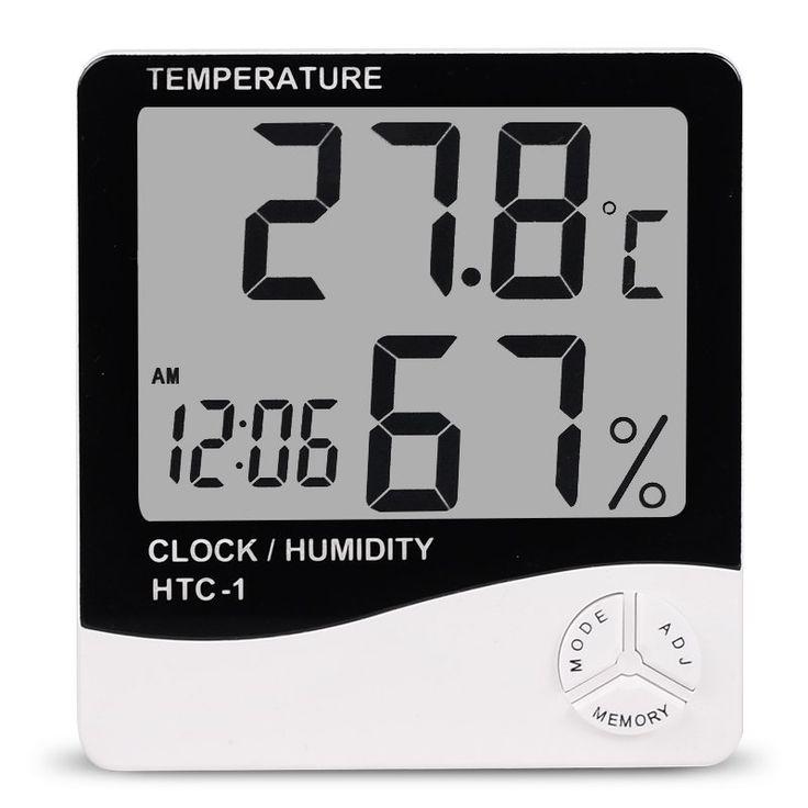 Temperature Measure|Measurement|Indoor Room LCD Electronic Temperature Humidity Meter Digital Thermometer Hygrometer Clock