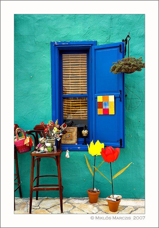 colorful window in balatonfured, veszprem