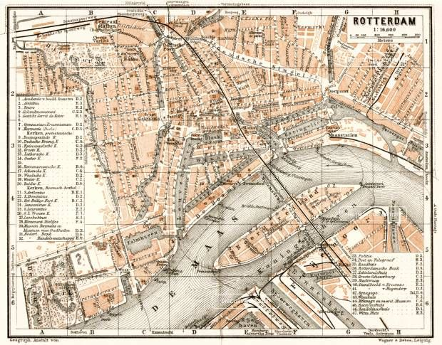 Rotterdam city map, 1909. Use the zooming tool to explore in higher level of detail. Obtain as a quality print or high resolution image