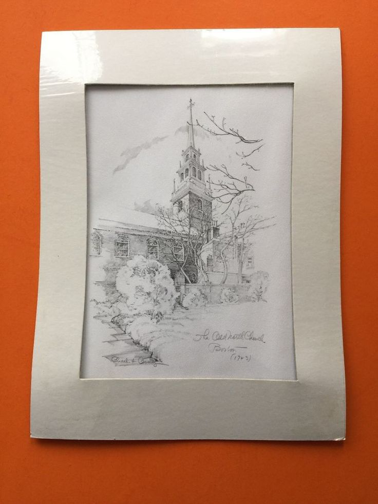 Boston Art The Old North Church north end Etching Charlestown southie mass  | eBay