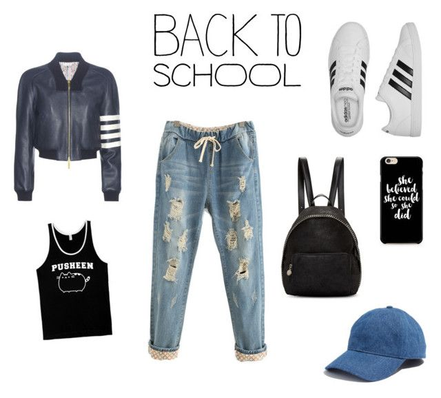 """""""#PVxPusheen #ootd"""" by itstyrell on Polyvore featuring Pusheen, adidas, STELLA McCARTNEY, Thom Browne, Madewell, contestentry and PVxPusheen"""