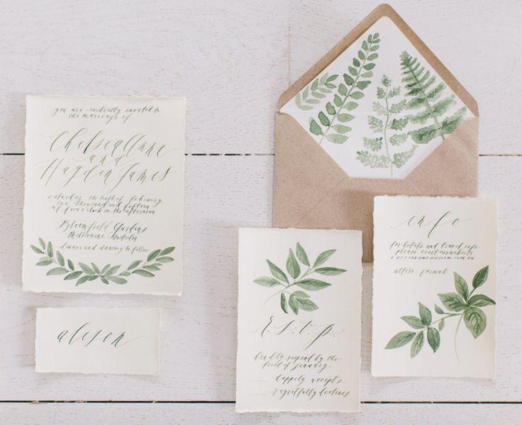 Botanical illustrations wedding invitations by written