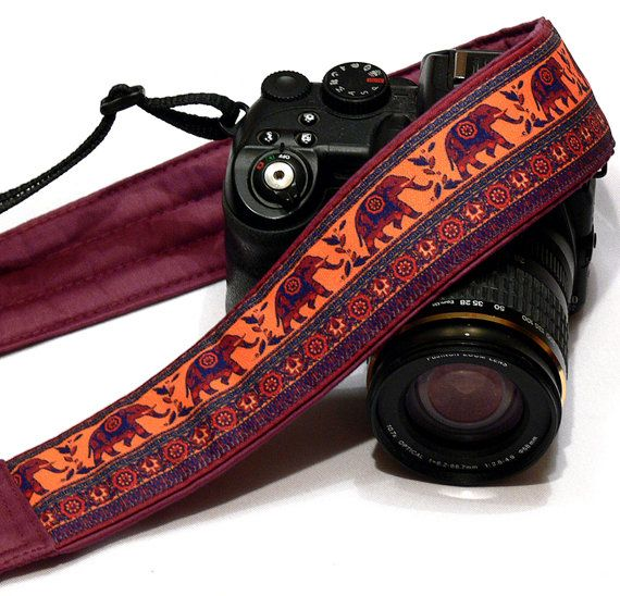 Lucky Elephants Camera Strap. Padded Camera Strap. Etsy Gifts.  DSLR Camera Strap. Canon, Nikon Camera Strap. Women Accessories