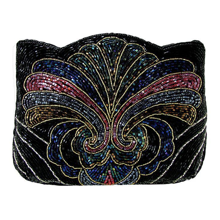 On The Fringe Art-Deco Beaded Evening Clutch Handbag IKI-19
