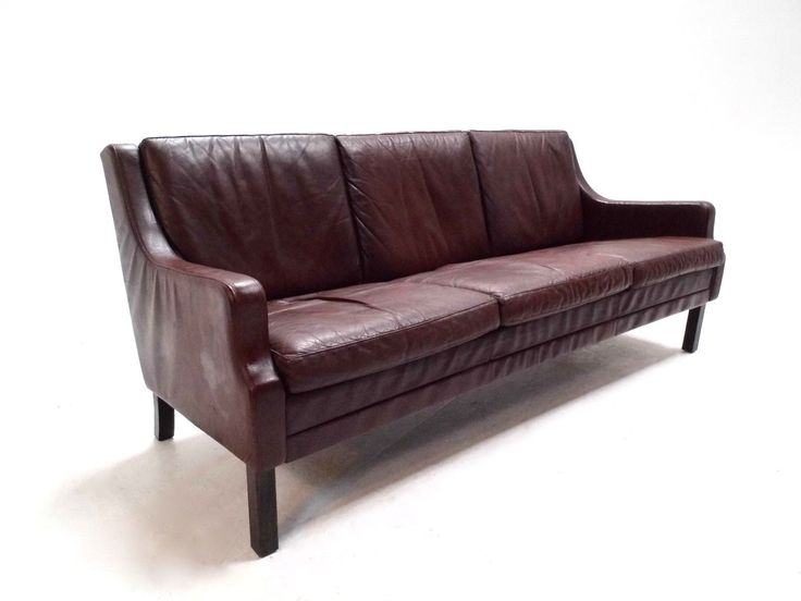 Danish Dark Brown Leather 3 Seater Sofa Mogensen Style Midcentury 1960s