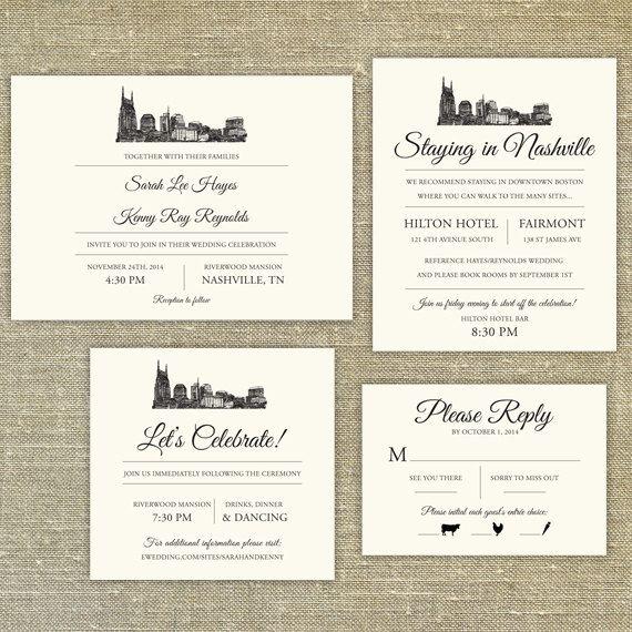Nashville Skyline Destination Wedding invitation by PixieChicago25 best Invitations images on Pinterest   Nashville skyline  . Nashville Wedding Invitations. Home Design Ideas