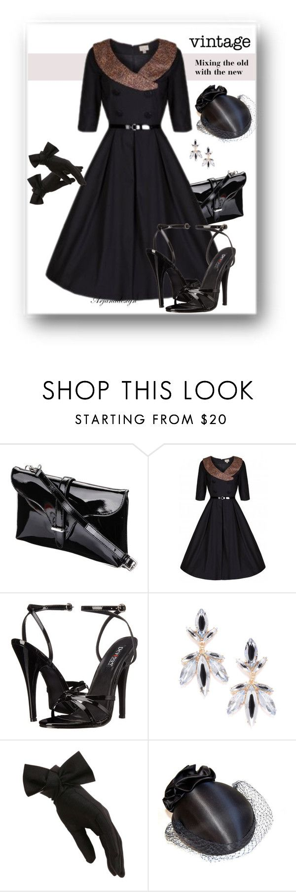 """""""WHAT I WOULD WEAR VINTAGE"""" by arjanadesign ❤ liked on Polyvore featuring Domina, Jeweliq, Black and vintage"""