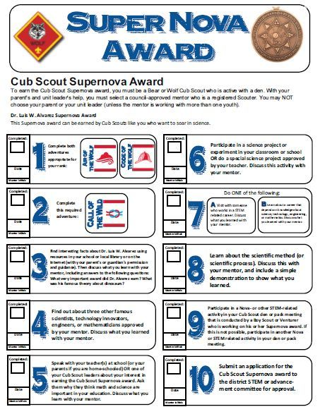 There are 7 different Nova/Stem Awards a Cub Scout can earn. In addition there is a Super Nova Award for the Cubs as well. For more info check out the BSA website for requirements. HERE I have made…