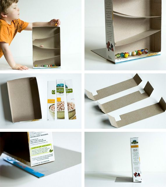 Recycling paper and math game for kids: Cereal Box Marble Run tutorial