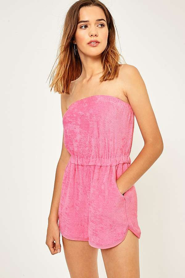 Slide View: 4: BDG Terry Strapless Playsuit