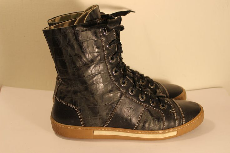 Escada Sport Leather  Sneakers Trainer Boots Dark Brown Made in Italy Size 38 #ESCADA #Trainerboots