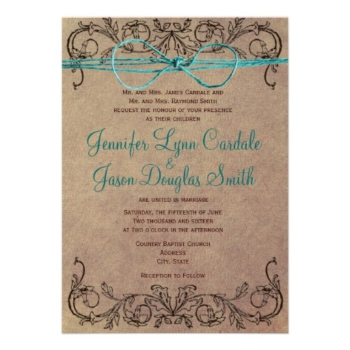 Rustic Country Vintage Brown and Turquoise Teal Vintage Scroll Frame Wedding Invitations