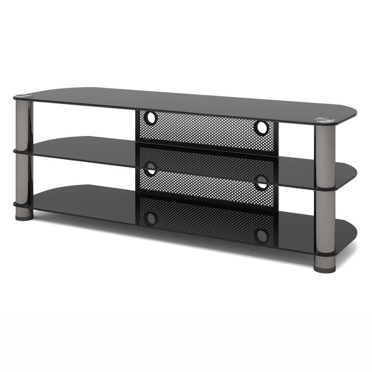 Sonax NY-9584 New York Metal and Glass TV Stand, 58-Inch. Accommodates most 50-inch-65-inch Televisions. Tempered glass top. Tinted, tempered glass shelves. Cable management. Gun metal finish.