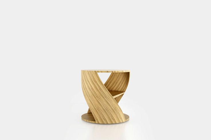Cylindrical side table with a middle shelf, from the collection MYDNA designed by Joel Escalona. Made of wood and heavy-duty fibers. Finished in natural wood or semi-gloss lacquer. MYDNA Table Zebrano #Table #Sidetable #furniture #design #nono #coolinteriors