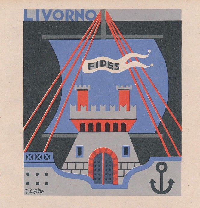 Fortunato Depero, le Province italiane, Livorno (1938)