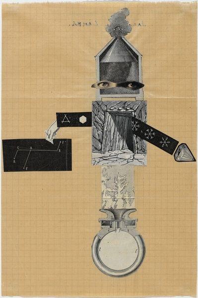 André Breton, Yves Tanguy, Jacqueline Lamba, Cadavre exquis, 8 février 1938 Collage de gravures et d'illustrations de magazine découpées sur papier 25 x 16,8 cm, (c) Centre Pompidou, MNAM-CCI/Philippe Migeat/Dist. RMN-GP